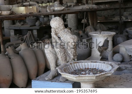 NAPLES, ITALY � MAY 14, 2014:   the Ruins of the old city of Pompeii, near Naples, Italy, May 14 2014,  in  Naples, Italy.