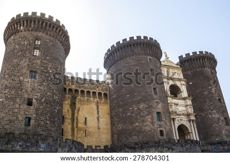 NAPLES, ITALY- MAY 22, 2014: Tourists in Castle Nouvo in Naples. Is a medieval castle in the city of Naples it is the main symbol of the city, it was first begun in 1279. - stock photo