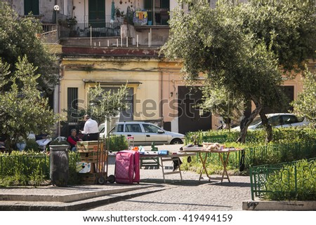 NAPLES, ITALY - MAY 2016: Town square at Montesane station in Naples in Italy