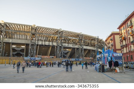 NAPLES, ITALY - NOVEMBER 8, 2015. In front of the Stadium  San Paolo before the  match Napoli vs Udinesse . - stock photo