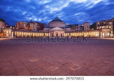 Naples, Italy: Piazza del Plebiscito (Plebiscito Square) at dusk. - stock photo