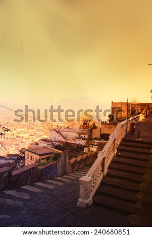 Naples, Panoramic view. Italy, effect vintage sunset