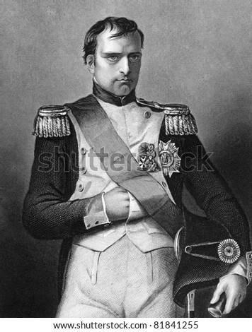 Napoleon Bonaparte (1769-1821). Engraved by D.J.Pound and published in The Gallery Of Portraits With Memoirs encyclopedia, United Kingdom, 1860. - stock photo