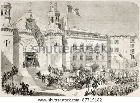 Napoleon III and Empress Eugenie arrival in Algiers cathedral. Created by Godefroy-Durand after Marc, published on L'Illustration, Journal Universel, Paris, 1860 - stock photo