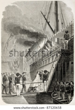 Napoleon III and Empress Eugenie boarding in Marseilles. By unidentified author, published on L'Illustration, Journal Universel, Paris, 1860 - stock photo