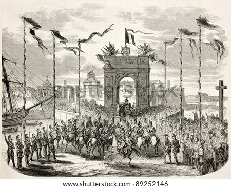 Napoleon III and empress Eugenie entrance in Saint-Malo through triumphal arch. Created by Gaildrau after mercier, published on L'Illustration, Journal Universel, Paris, 1858
