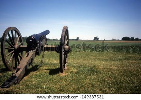 Napoleon, 12 lb cannon, Confederate lines, Civil War battlefield,Gettysburg National Battlefield Park,Pennsylvania  - stock photo
