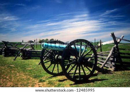 Napoleon, 12 lb cannon, near Peach OrchardGettysburg National Historical Battlefield,Pennsylvania, - stock photo