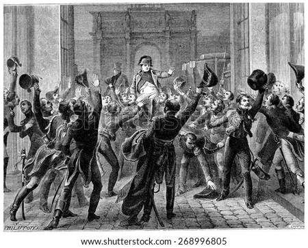 Napoleon returned to the Tuileries, March 20, 1815, vintage engraved illustration. History of France  1885.