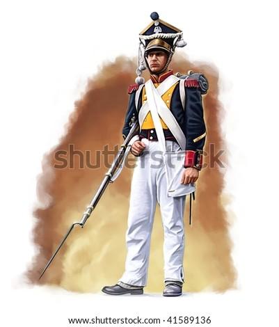 Napoleonic Polish infantryman - stock photo