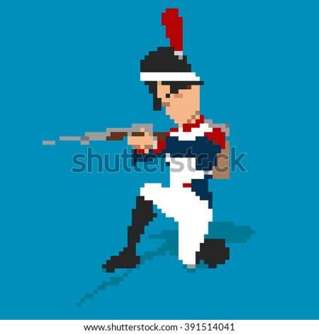 Napoleonic soldier pixel art - stock photo