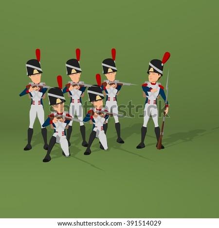 Napoleonic soldiers - stock photo