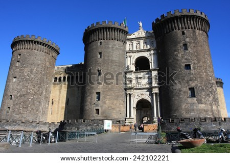 NAPOLI, ITALY - MARCH 13, 2009: Castle of Napoli on March 13, 2009 in Napoli, Italy. The Napoli castle is a unesco world heritage and a landmark in Southern Italy. - stock photo