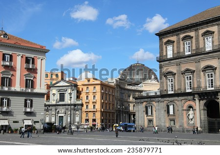 NAPOLI, ITALY - MARCH 13, 2009: Historic center of Napoli on March 13, 2009 in Napoli, Italy. The Napoli historic old town is a unesco world heritage and a landmark in Southern Italy. - stock photo