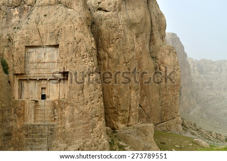 Naqsh-e Rustam, an ancient necropolis in Pars Province, Iran. - stock photo