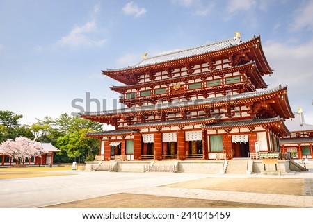 Nara, Japan at the Golden Hall of Yakushi-ji Temple. - stock photo