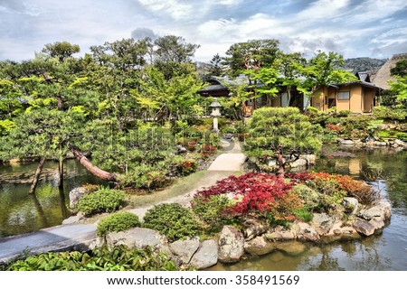Nara, Japan - Isuien Garden. Japanese style garden. - stock photo