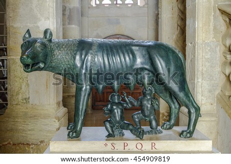 Narbonne - France, July 17, 2016: The Wolf Romulus and Remus. In 1982 celebrated 2100 years of existence first Roman colony. Rome has offered this magnificent bronze sculpture replica.