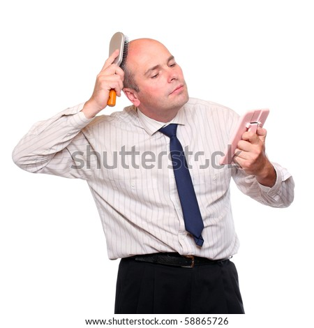 Narcissist - hairless businessman with mirror. - stock photo