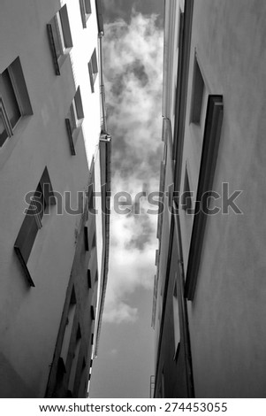 narrow alley in Brandenburg - stock photo