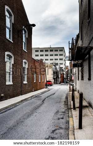 Narrow alley in Harrisburg, Pennsylvania. - stock photo