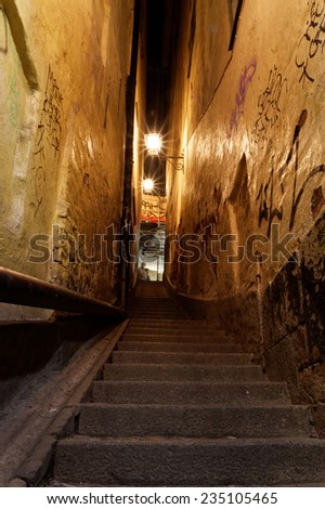 Narrow alley only one yard wide in Old Town in Stockholm - stock photo