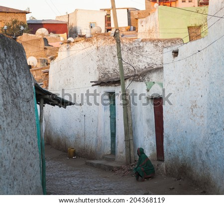 Narrow alleyway of ancient city of Jugol early in the morning. Harar. Ethiopia. - stock photo