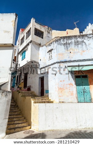 Narrow Arabic streets, old Medina of Tangier, Morocco - stock photo