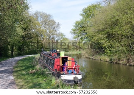 Narrow Boat on the Kennet and Avon Canal - stock photo