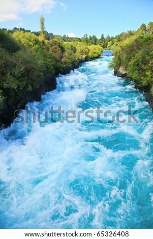 Narrow canyon of Huka  falls on the Waikato River, New Zealand - stock photo