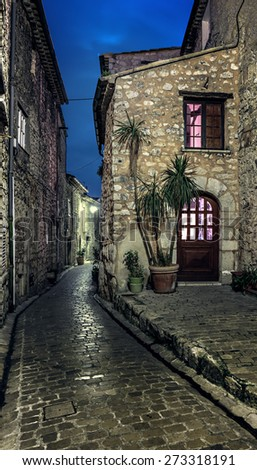 Narrow cobbled street in the old village Tourrettes-sur-Loup at night, France. - stock photo