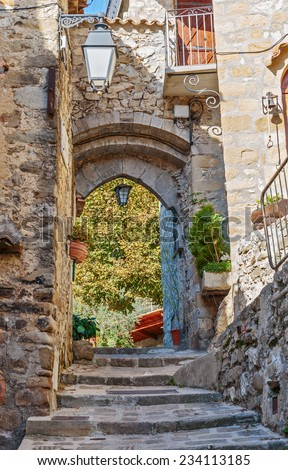 Narrow cobbled streets in the old village Lyuseram, France - stock photo