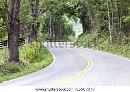 Narrow  country road and pasture with green trees and fence - stock photo