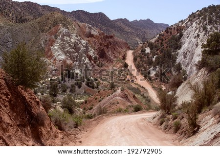 Narrow dirt road in Cottonwood Narrows, Arizona - stock photo