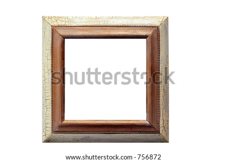 narrow edged rustic picture frame. Wooden with distressed paint surface. Includes clipping paths, so you can easily insert images or make a drop shadow. - stock photo