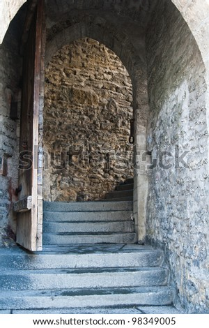 Narrow gate in the Top City in Tallinn - stock photo