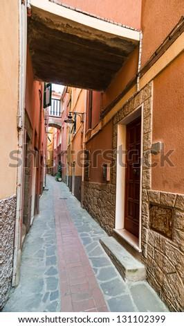 Narrow medieval street in Manarola, oldest town in Cinque Terre (Ligura region in Italy). - stock photo