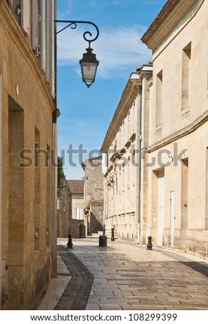 Narrow medieval street in Saint-Emilion, Aquitaine, France - stock photo