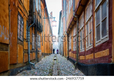 narrow old street in Helsingor - stock photo