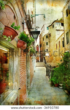 narrow pictorial streets of Venice - stock photo