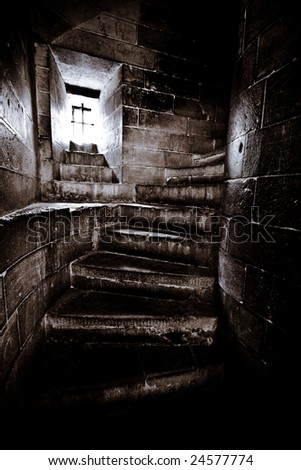 Narrow Stairs in of Castle Tower - stock photo
