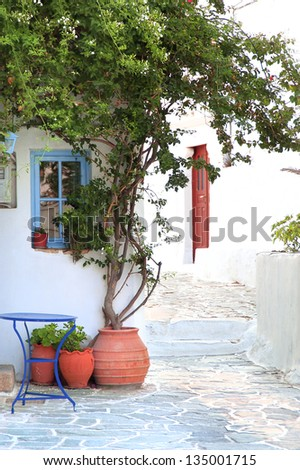 narrow street in a greek island(Folegandros)