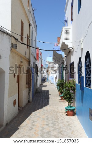 Narrow street in Asilah, Morocco