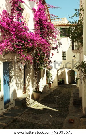 Narrow street in Cadaques, Costa Brava, Catalonia, Spain - stock photo