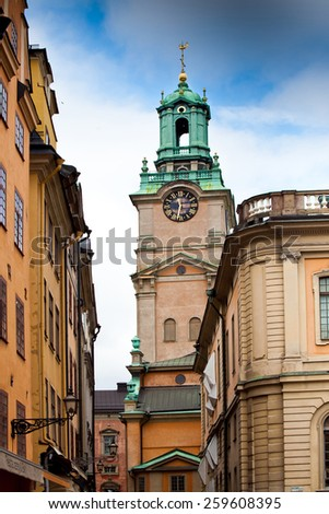 Narrow street in city center, Stockholm, Sweden - stock photo