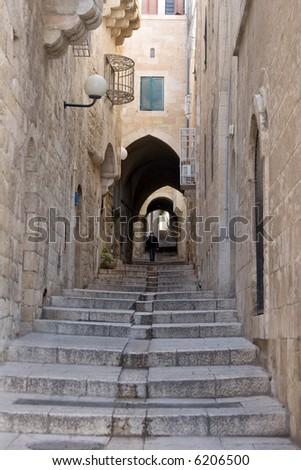 Narrow street in Jewish Quarter, Jerusalem - stock photo