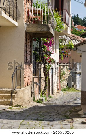 Narrow street in Ohrid town - Macedonia - stock photo