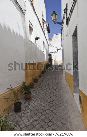 narrow street in Portugal - stock photo