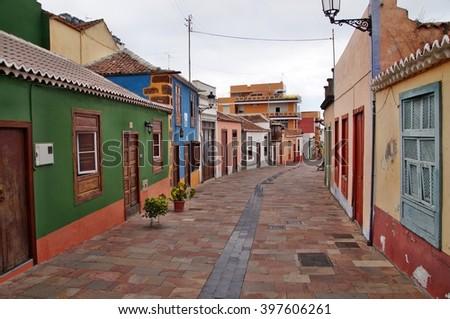 Narrow street in Santa Cruz de La Palma, Canary Islands, Spain - stock photo