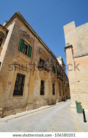 Narrow Street in the historic site of Mdina (The city of Silence) on Malta.